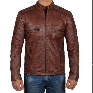 💼 Fanjackets brown leather jacket man new